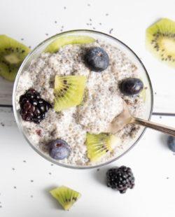 Vanilla Chia Pudding with berries and kiwi.