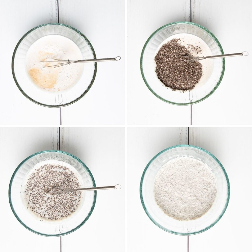 Step by Step making chia pudding.