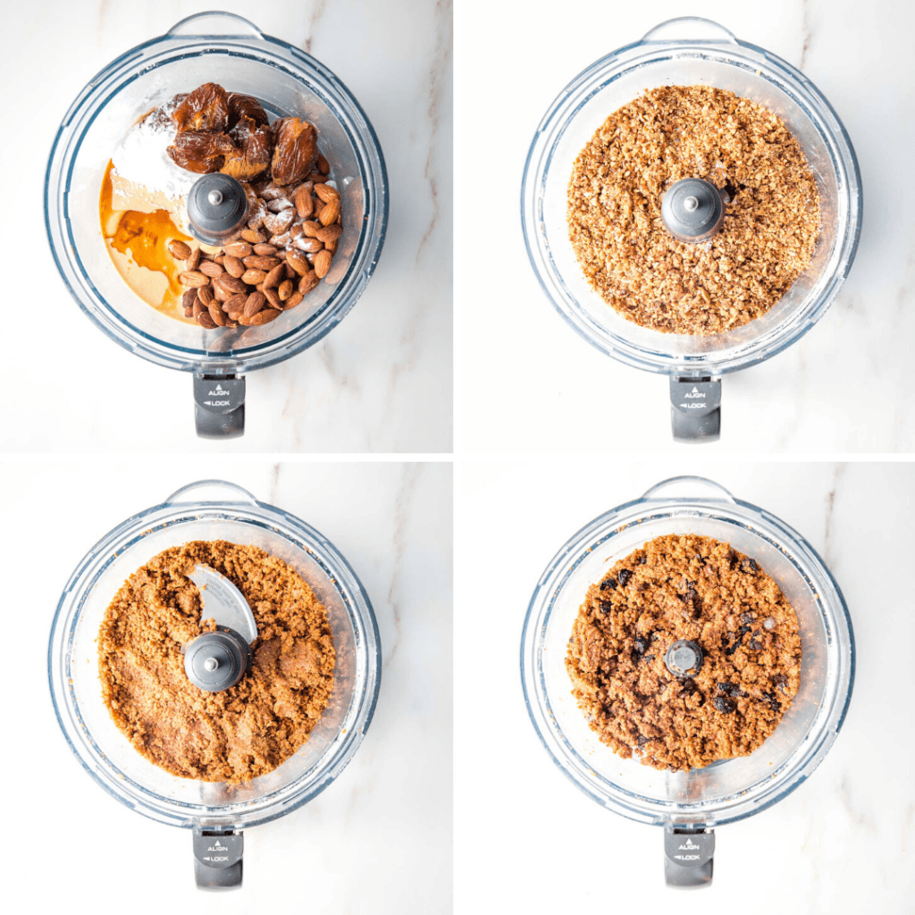 Step by Step in the food processor from ingredients to dough.