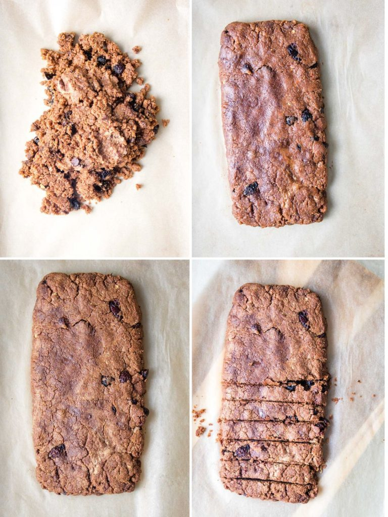 Steps to the first bake of biscotti:  mound, form into a loaf, bake and slice.
