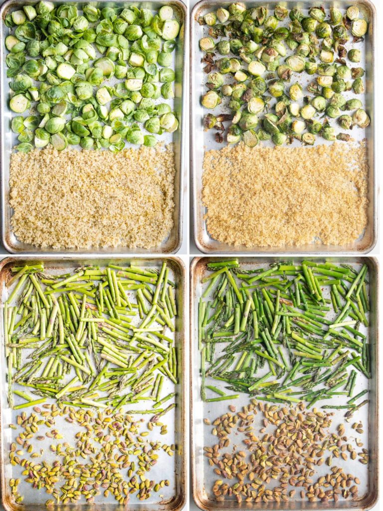 large baking trays with brussels sprouts, quinoa, asparagus and pistachios, before and after roasting.