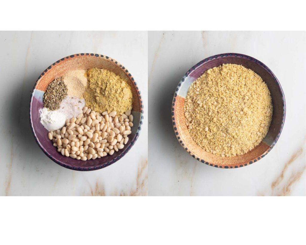 spices, nuts and nutritional yeast pulsed into crumbles resembling parmesan cheese