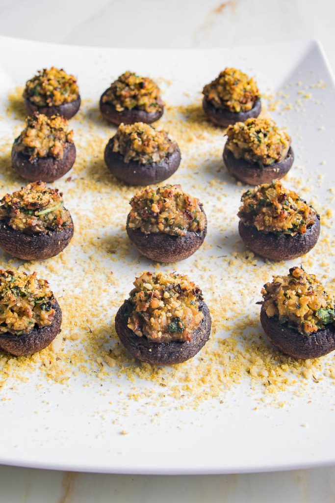 Stuffed mushrooms on a platter