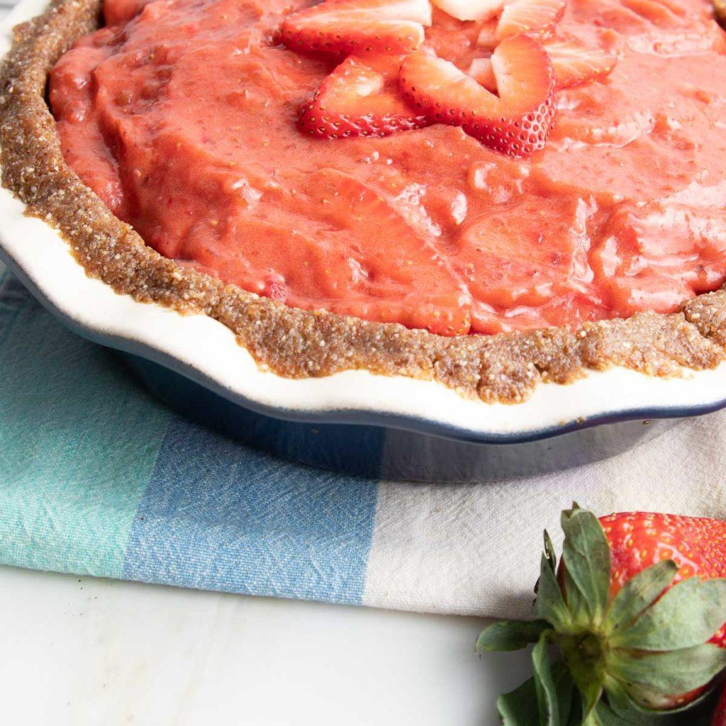 Raw Strawberry Pie up close