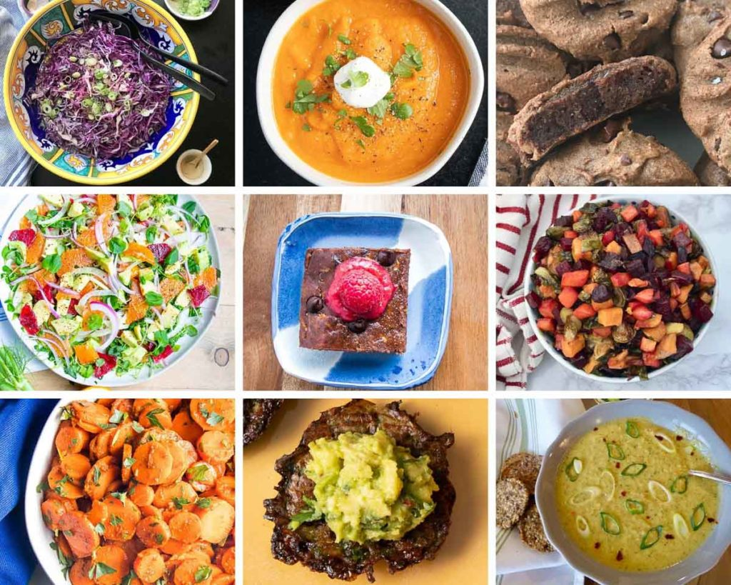 An grid of photos for healthy passover recipes.