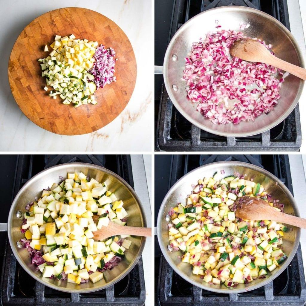 Onions, zucchini and squash saute for vegan enchilada casserole.