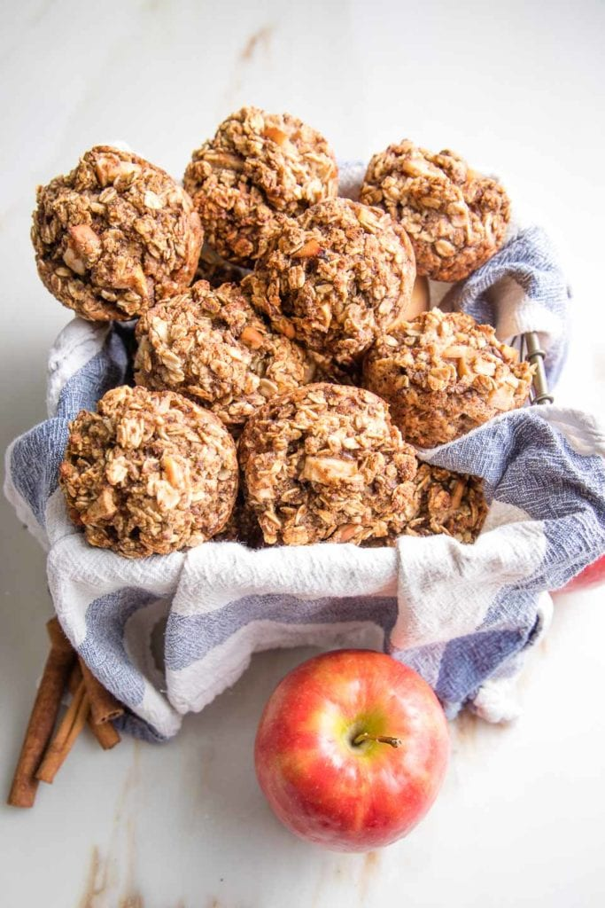 A basket of healthy apple muffins
