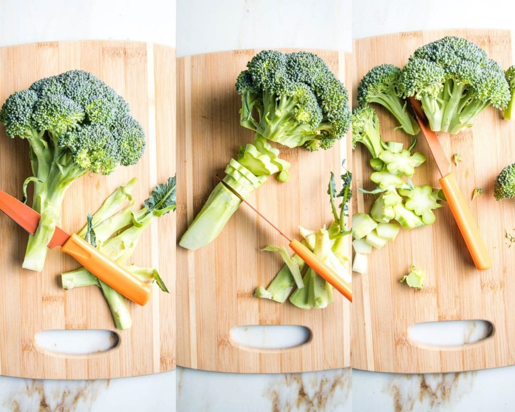 Step by step how to trim broccoli to roast in the oven.