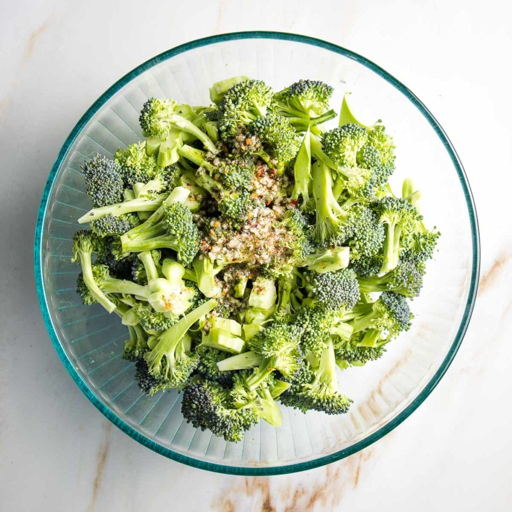 Bowl of broccoli with marinade