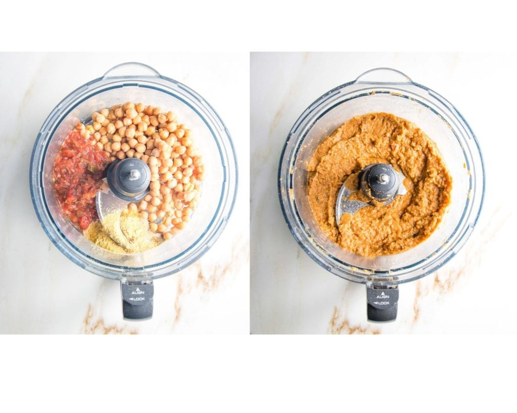 Salsa, beans, spices pureed in the food processor.