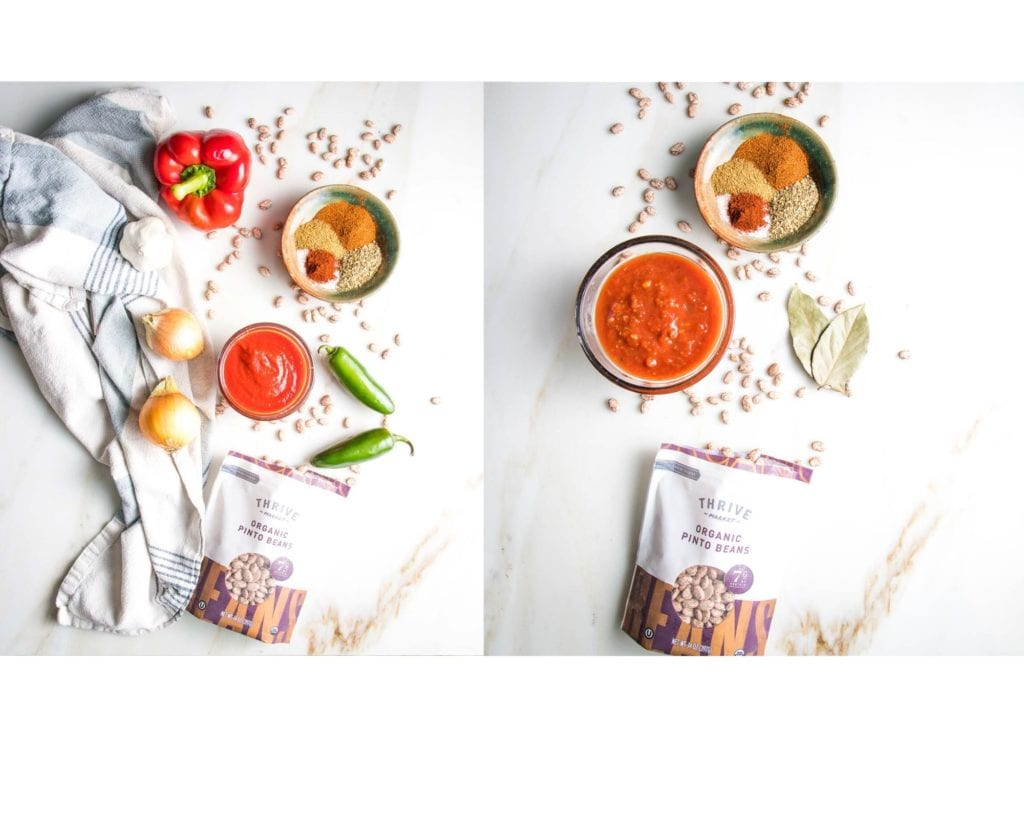 Two photos, side by side, one with fresh ingredients like onions, peppers, jalapenos along with spices and dried beans, the other with just salsa, spices and beans