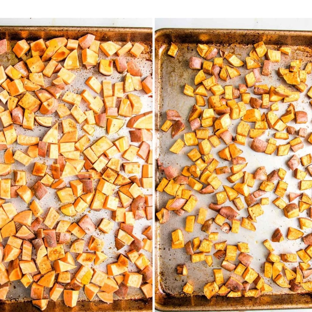 Cubes of sweet potatoes on a rimmed baking tray before and after roasting.