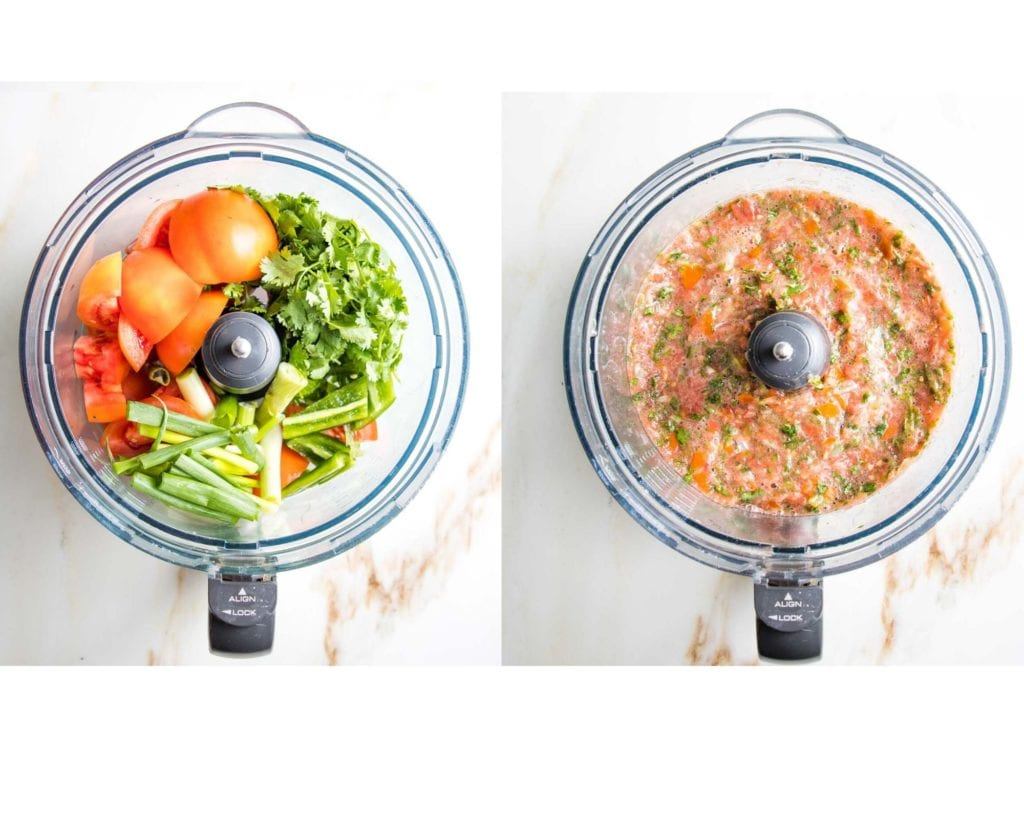Ingredients in the bowl of food processor on the left:  tomatoes, scallions, jalapenos and cilantro.  On the right, same processor bowl with ingredients that have been processed into salsa.