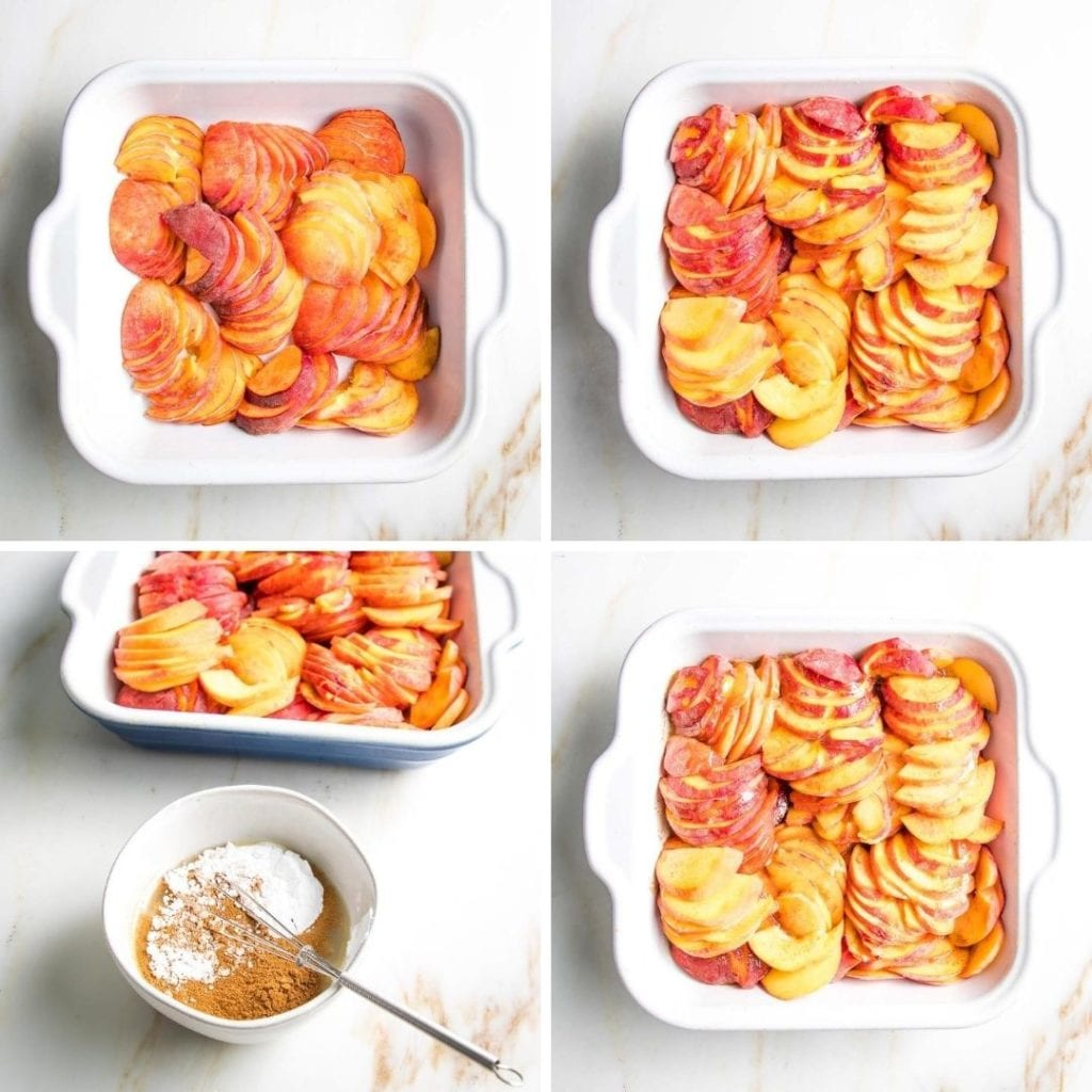 Square baking dish, being filled with sliced peaches, then covered with sauce made from maple syrup, arrowroot and cinnamon. The first step to making homemade peach cobbler.