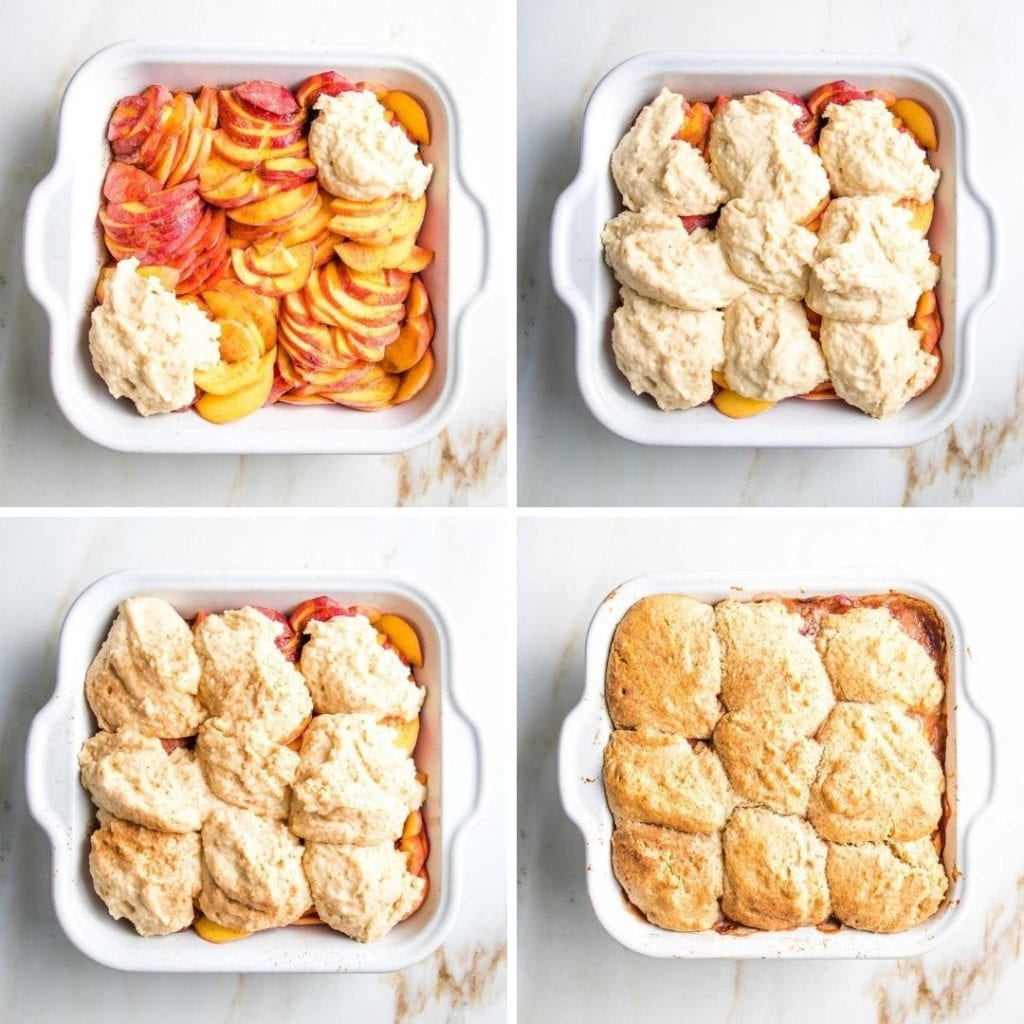 Square baking dish filled with peaches and scoops of cobbler topping, sprinkled with cinnamon and baked.
