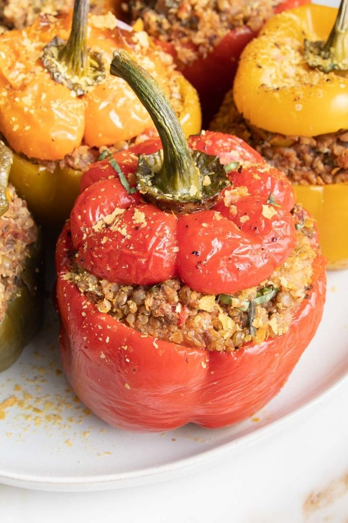 Italian spiced, quinoa and lentil stuffed bell peppers in all colors on a white plate.