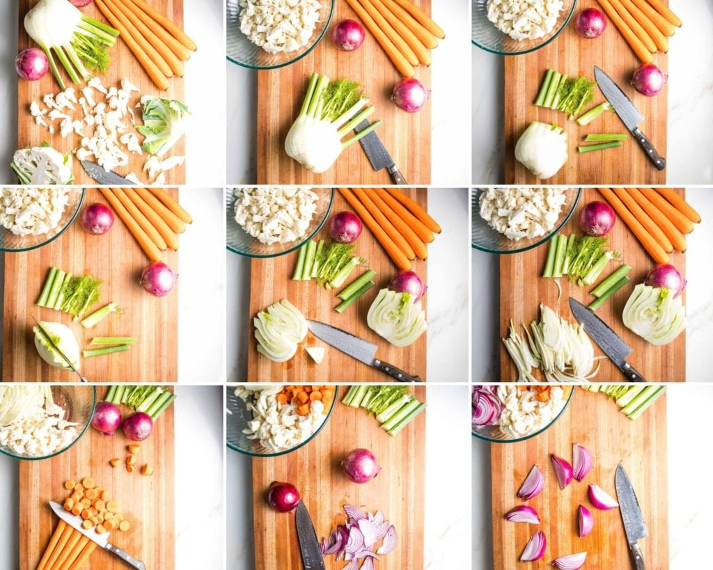 Step by Step directions to trim and cut cauliflower, fennel, carrots and red onions for lentil salad with roasted vegetables.