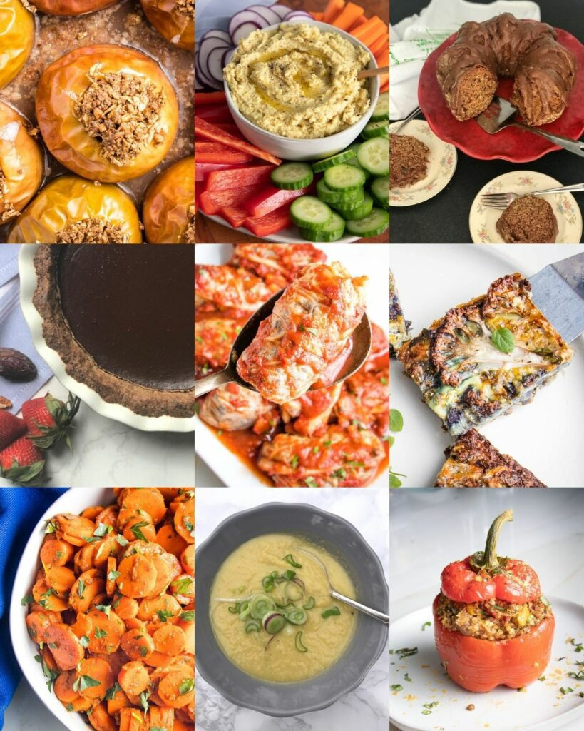 9 grid of food photos: baked apples, crudites with hummus in the center, apple bundt cake, chocolate pie, stuffed cabbage, cauliflower kugel, moroccan carrots, leek soup, stuffed peppers.