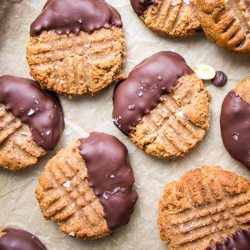 Peanut butter cookies dipped in chocolate