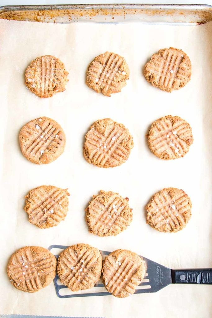 Baking tray lined with parchment paper filled with peanut butter cookies, with fork marks.  A spatula loaded with three cookies.