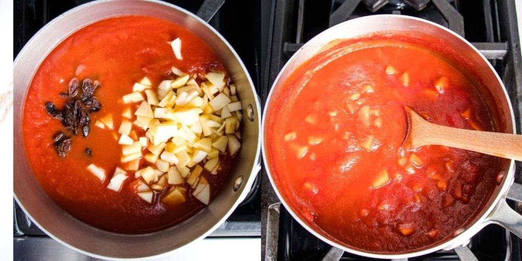 Sweet and sour stuffed cabbage sauce.  Raisins and apples simmering in the sauce.