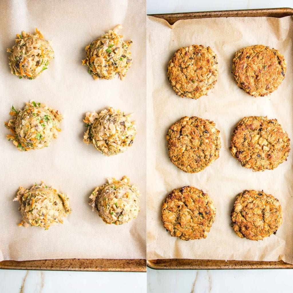 White Bean Veggie Burgers scooped onto baking tray lined with parchment paper and then baked into burgers.