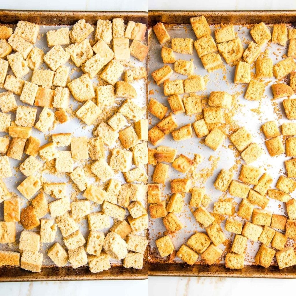 Cubes of cornbread on a baking tray and then same tray after browned from cooking.