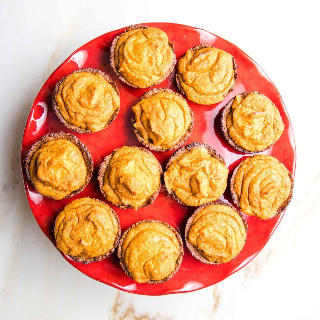 Mini Pumpkin Pies on a red cake stand