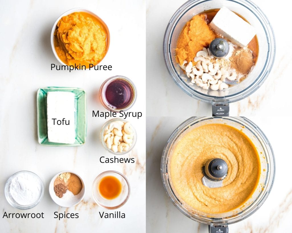 Ingredients for vegan pumpkin pie filling: pumpkin puree, tofu, maple syrup,cashews, arrowroot powder, vanilla, spices,