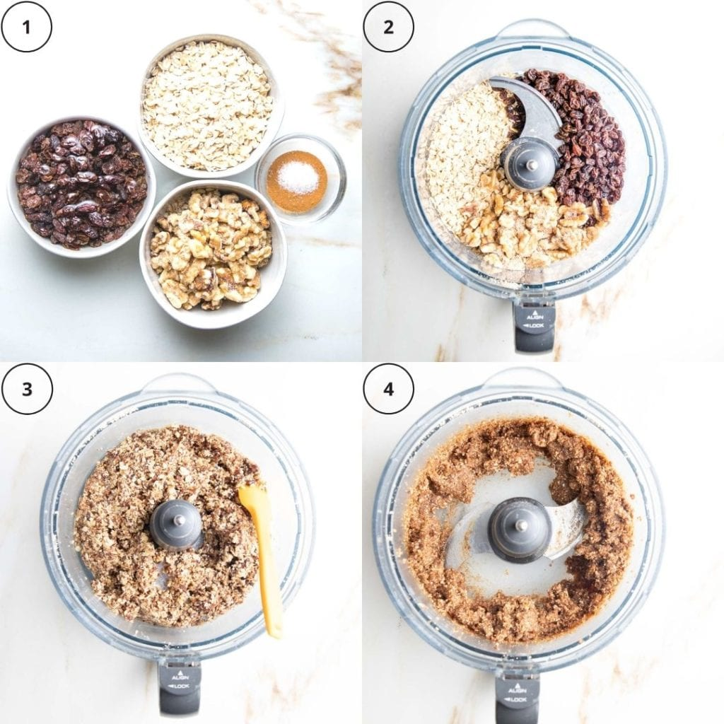 4 steps in photos to gluten-free pumpkin pie crust. 1: ingredients, bowl with raisins soaking, 2: ingredients in bowl of food processor, 3: pulsed ingredients with spatula scraping down sides, 4: crumbly crust.