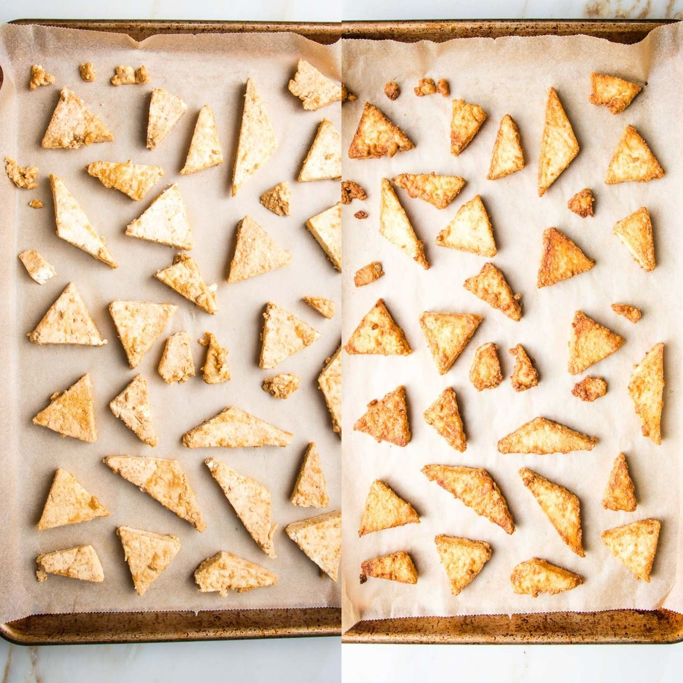 Baking sheet lined with parchment paper before and after baking when it's browned and crispy.