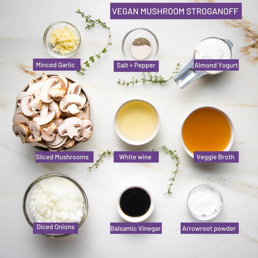 Ingredients for Vegan Mushroom Stroganoff with purple boxes and white lettering naming: minced garlic, salt+pepper, almond yogurt, sliced mushrooms, white wine, veggie broth, diced onions, balsamic vinegar, arrowroot powder.