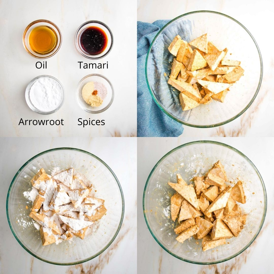 Four photos. 1. ingredients for tofu marinade (oil, tamari, arrowroot and spices). 2. oil/tamari mixed with tofu triangles. 3. Arrowroot and spices sprinkled on top. Mixed tofu.