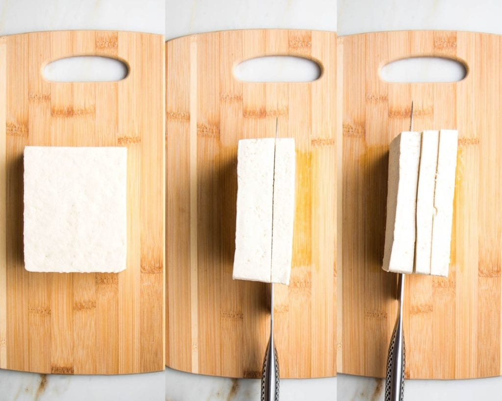 Block of tofu, shown how to cut into three slabs.