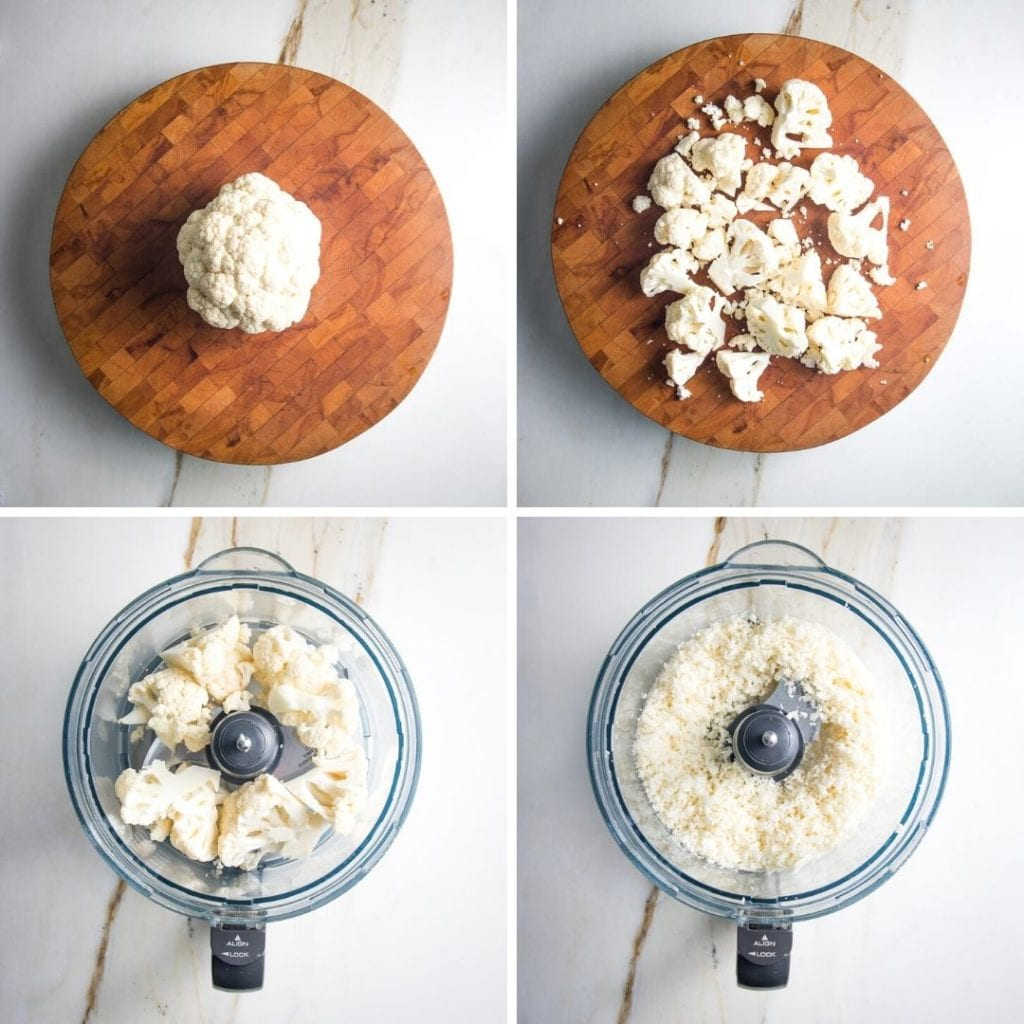 4 photos showing steps to making cauliflower into rice.  Chopped into florets and then pulsed in the bowl of a food processor