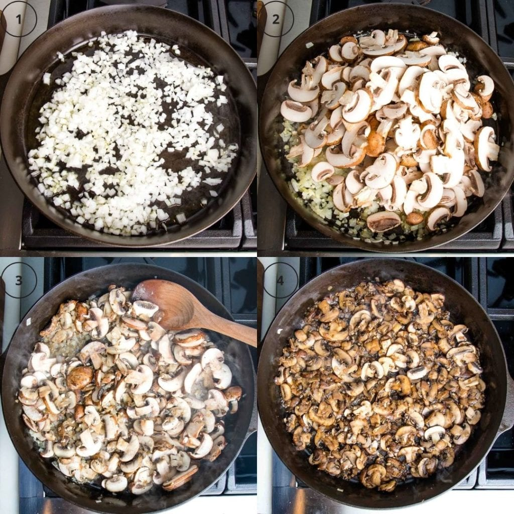 4 photos in a grid: 1:saute onions 2: add in mushrooms 3: cook mushrooms 4: deglaze pan with balsamic vinegar