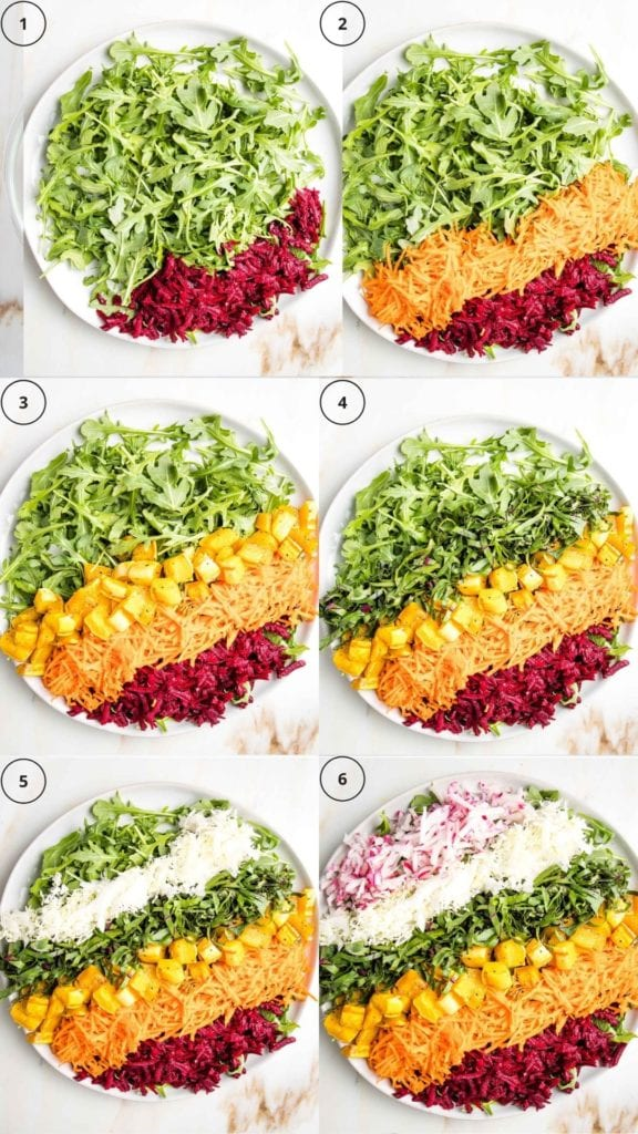 Rainbow salad in steps beginning with a bed of greens on a white round bowl, adding one color at a time until there's a rainbow of shredded beets, purple cabbage,carrots, roasted cubed squash, sliced beet greens, and radishes.