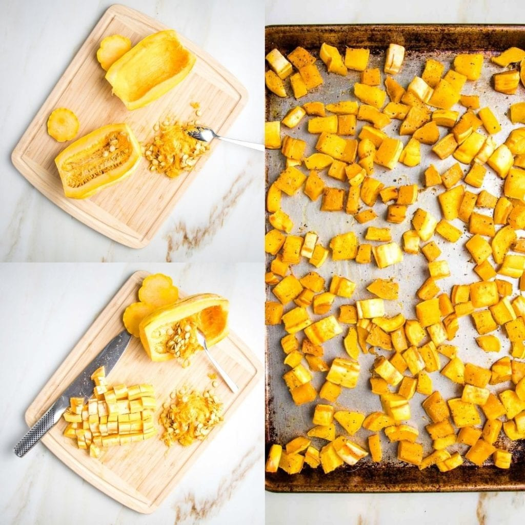 3 photos. On left side first photo delicata squash with ends cut off and halved, one part with seeds scooped out. Bottom left photo is same plus one half is cubed. Right side long photo of squash cubes roasted on rimmed baking tray.