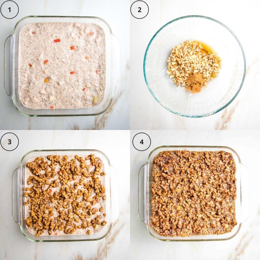 4 photos of quinoa breakfast bake. 1: batter in square glass baking pan. 2: mixing the topping. 3: topping sprinkled on top of batter in pan. 4: finished product