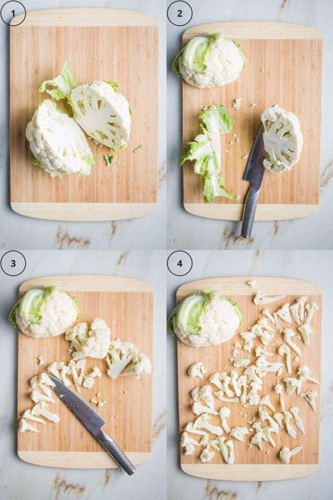 Step by step photos to cut cauliflower into florets. 1. Cauliflower halved. 2. bottom core and leaves cut from 1/2 the cauliflower. 3.  Cauliflower half cut into large pieces.  4.  Half the cauliflower separated into small florets.