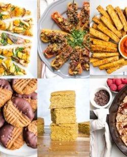 Collage of photos for game day recipes. Flatbread pizza, stuffed mini peppers, vegan mozzarella sticks, cookes, cornbread, skillet cookie
