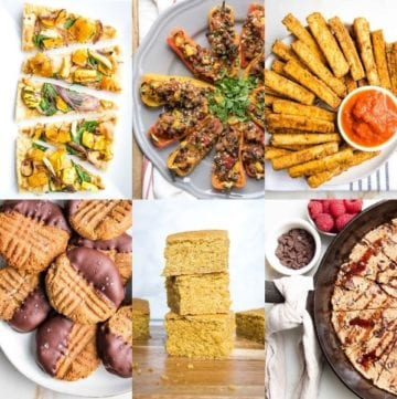 Collage of photos for game day recipes. Flatbread pizza, stuffed mini peppers, vegan mozzarella sticks, cookes, cornbread, skillet cookie