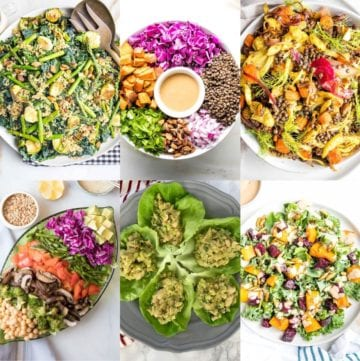 Grid with three photos on top, three on bottom. All colorful salads with grains and greens and roasted veggies in different assortments.