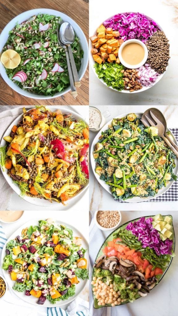 6 photos with winter salad recipes. 1. Arugula and faro. 2. lentils with miso dressing and colorful cabbage, sweet potatoes. 3.  Roasted veggies plus lentils. 4. Crunchy quinoa salad. 5. Roasted butternut squash and beets on salad. 6. Roasted veggies in a rainbow presentation plus beans and avocados.