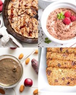 4 square grid of photos: chocolate chunk skillet cookie, chocolate pudding with chocolate shavings and raspberries, chocolate shake, and chocolate chip zucchini bread