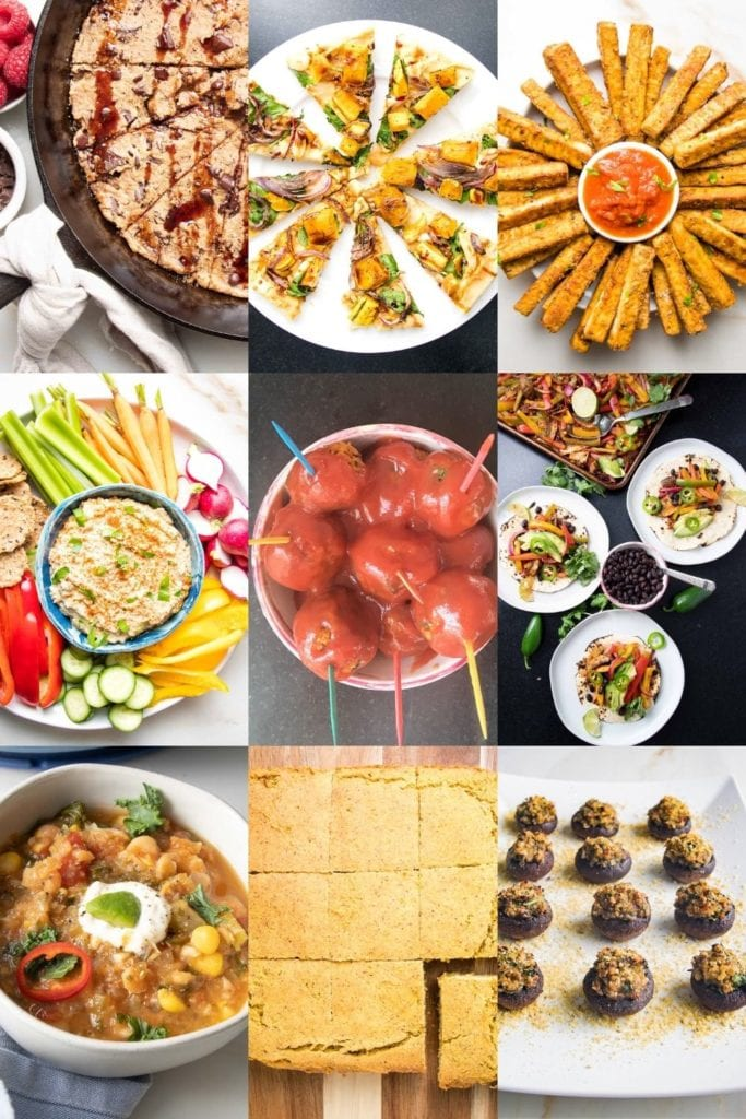 collage of photos for game day recipes:  chocolate chunk skillet cookie, flatbread pizza, vegan mozzarella sticks, baba ganoush with crudites, vegan sweet and sour meatballs, fajitas, chili, cornbread and stuffed mushrooms.