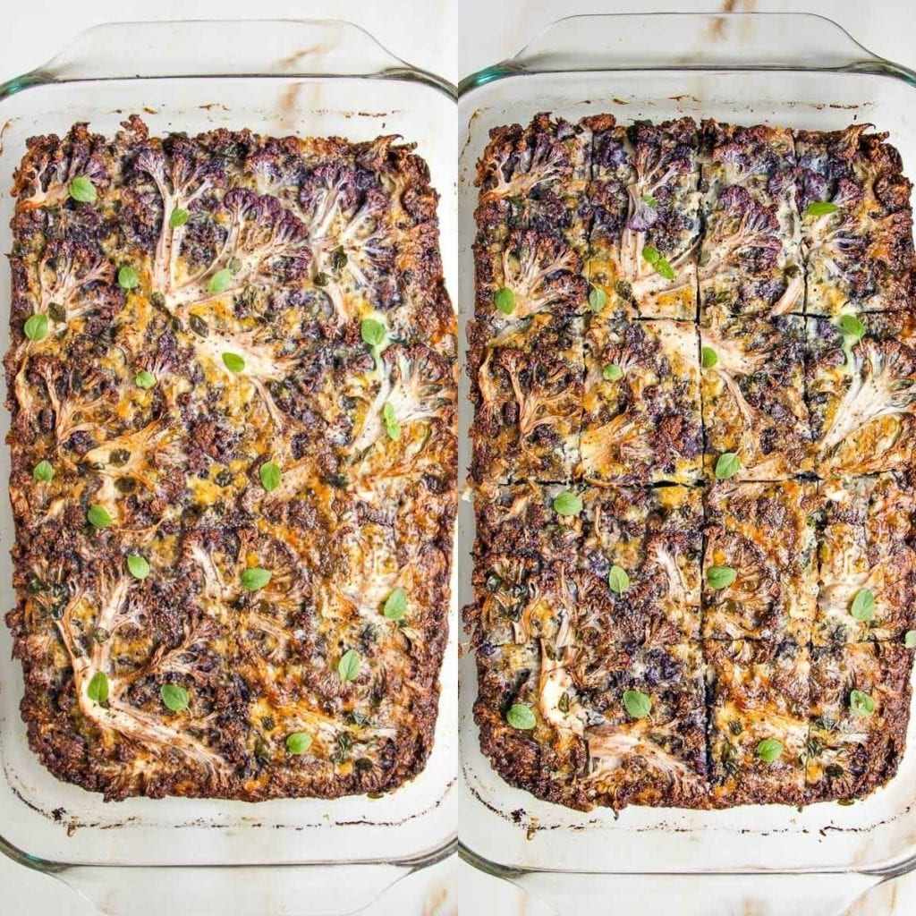 Two side by side photos of a baked kugel. On the right, it is sliced into squares.
