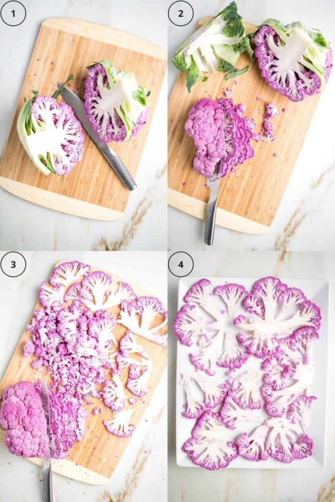 4 grid of photos. 1.  purple cauliflower cut in half down the middle. 2.  half the cauliflower being sliced thinly. 3.  Second half of cauliflower being sliced. 4.  white rectangular platter with thin slices of cauliflower displayed in a single layer.