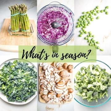 """6 photo grid: asparagus, cabbage, brussels sprouts, greens, mushrooms and broccoli. Text across the middle in black script over a green box says, """" what's in season?"""""""