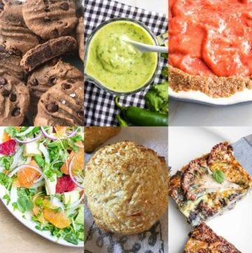 6 grid photos: 1. double chocolate cookies; 2. avocado lime dressing; 3. strawberry pie; 4. citrus fruit salad; 5. onion rolls; 6. cauliflower kugel